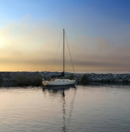 Sailboat at sunset on Lake Michigan